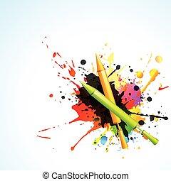 pichkari, con, colorido, salpicaduras