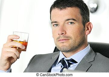 picie, człowiek, handlowe biuro, alchool