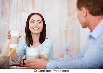 picie, ludzie, kawa, młody