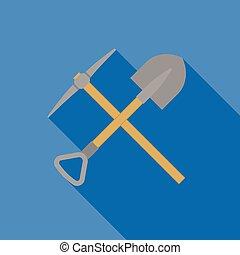 pick axe and shovel, mining icon concept, flat design vector with long shadow