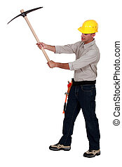 pick-axe, utilisation, homme