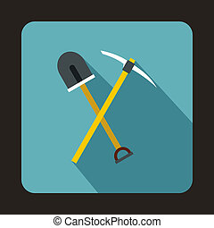 Pick tool and shovel icon, flat style