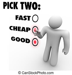 There's a saying that you can have it fast, cheap or good, but you can only pick two. That concept is illustrated in this image, with someone choosing two of the options, selecting his top priorities