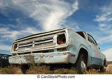 pick-up, américain, camion, abandonnés