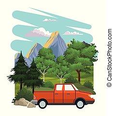 Pick up at landscape vector illustration graphic design