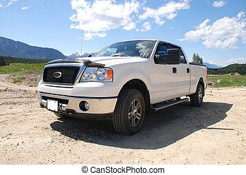 pick-up, branca, caminhão