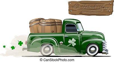 pick-up, cartone animato, birra, vettore, retro, santo, patrick's