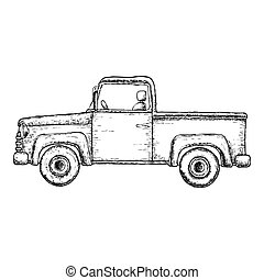 pick-up, croquis, camion