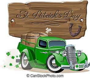 pick-up, dessin animé, bière, vecteur, retro, saint, patrick's