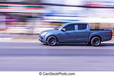 pick-up, estrada, acelerando