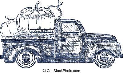 pick-up, légumes, vieux camion, retro