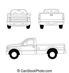 pick-up, ligne, camion, illustration