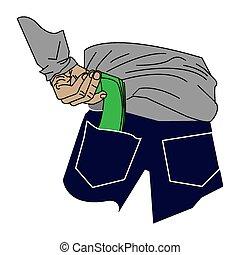 Pick up money in back pocket illustration. put dollar to pay