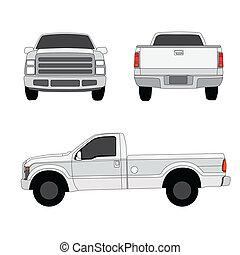 pick-up, três, ilustração, vetorial, caminhão, lados, vista
