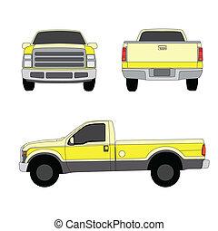 pick-up, trois, illustration, vecteur, camion, jaune, côtés, vue