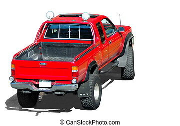 Pick Up Truck - A rear view of a red pick up truck isolated...