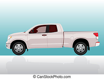 Pick-up truck big on color gradient background.
