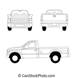 Pick-up truck line illustration, front, side and rear view
