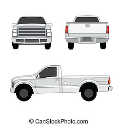 Pick-up truck three sides view vector illustration