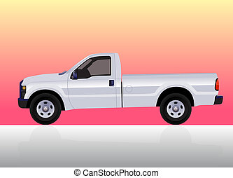 Pick-up truck white on color gradient background.