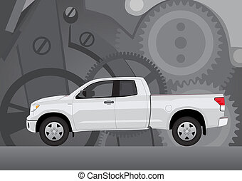 Pick-up truck with background of cogwheels. Vehicle and background on separate layers, no transparencies.