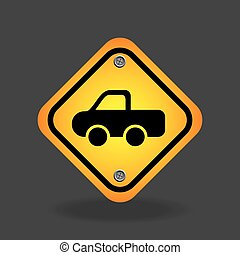 pick up truck yellow road street sign