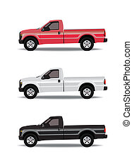 Pick-up trucks in three colors - red, white and black