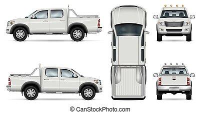 pick-up, vecteur, camion, fond blanc