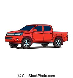 pick-up, vecteur, camion, rouges, illustration