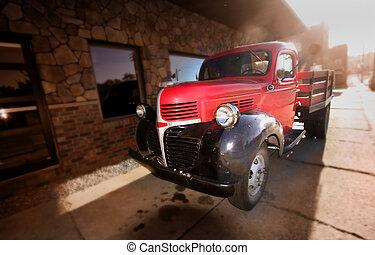 pick-up, vieux, rouges