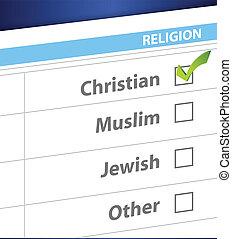 pick your religion blue survey illustration