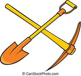 pickaxe, 以及, 鏟