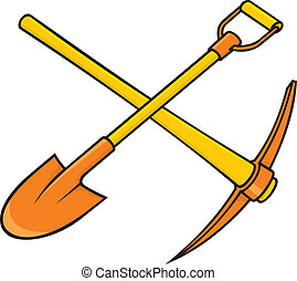 Pickaxe and shovel - Crossed yellow and orange pickaxe and...