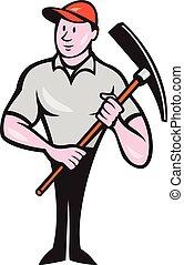 pickaxe, de arbeider van de bouw, spotprent, vasthouden