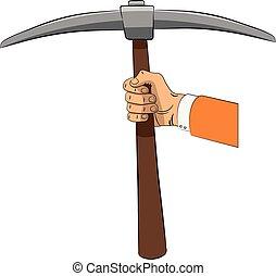 pickaxe, hand.