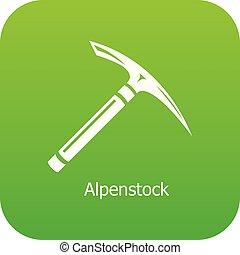 Pickaxe icon green vector