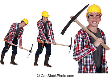 pickaxe, lavoratore costruzione