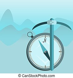 pickaxe mountain, Mountain themed outdoors emblem, Compass