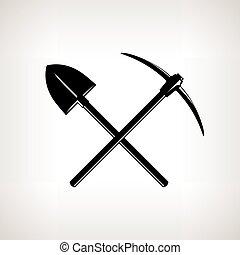 pickaxe, schop, gekruiste
