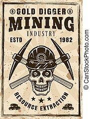 pickaxes, ouro, cranio, cartaz, mineiro, cruzado, retro