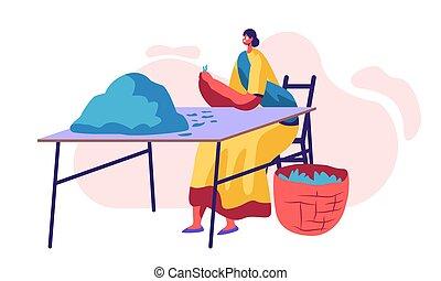 picker, chá, plantation., ocupação, femininas, vestido, agriculture., personagem, indianas, apartamento, mulher, trabalhador, ilustração, trabalho, ponha, caricatura, ordenando, folhas, tradicional, vetorial, verde, cesta, fresco