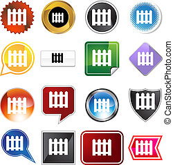 Picket Fence Icon Set - Picket fence icon set isolated on a...