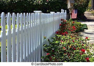 Picket Fence - Picket fence in spring