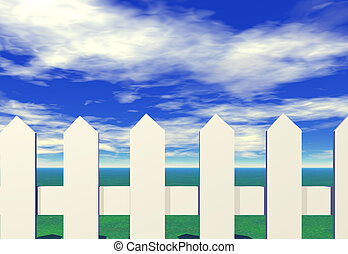 Picket fence - A whitw picket fence with a blue sky and...
