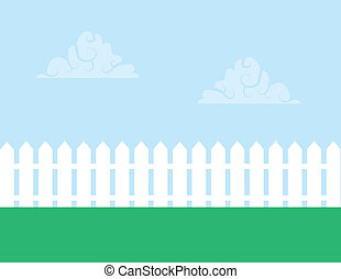 Picket Fence  - White picket fence with cloudy sky
