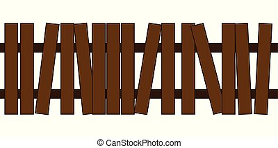 Picket fence, wooden textured with grass, rounded edges....