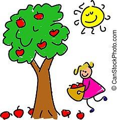 picking apples - little girl picking apples