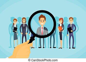 picking, firma, rekrutering, forstørrer, zoom, person, hånd, glas