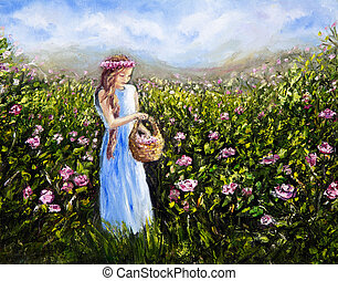 Original oil painting showing young woman or girl picking flowers in flower field on canvas. Modern Impressionism, modernism, marinism