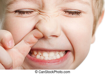 Picking nose fun looking eye cute human child face